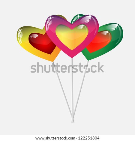 varicoloured caramel on a stick in form hearts on a white background - stock vector