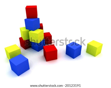 varicoloured child's blocks for games in outdoor on a white background - stock vector