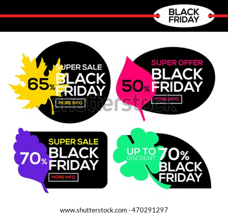 Variegated black friday sale. Black Friday banner with autumn leaf. Sale and discount. Super offer. Vector illustration