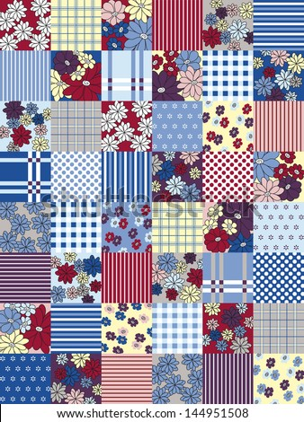 Variegated patchwork seamless pattern - stock vector