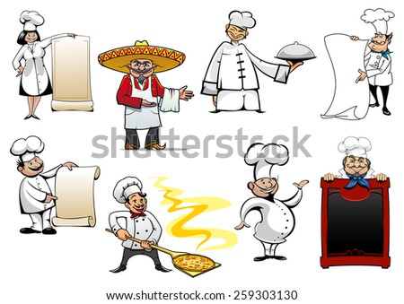 Variety cartoon chinese, mexican, german, spanish, french and italian chefs or bakers  - stock vector