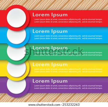 Variety color of infographic with wood pattern.