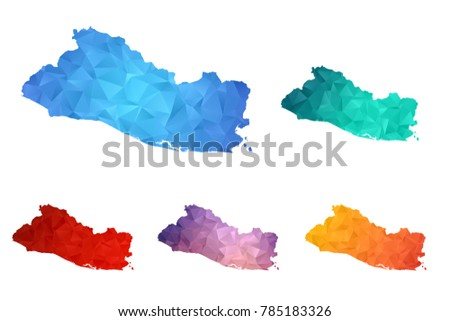 Variety Color Polygon Map On White Stock Vector 2018 785183326