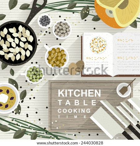 variety cooking materials on kitchen table in flat design - stock vector