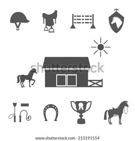 Variety Grayscale Vector Horse Icons on White Background. - stock vector