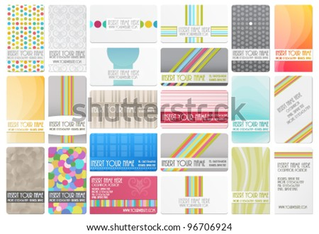 Variety of 22 beautiful editable business cards - stock vector
