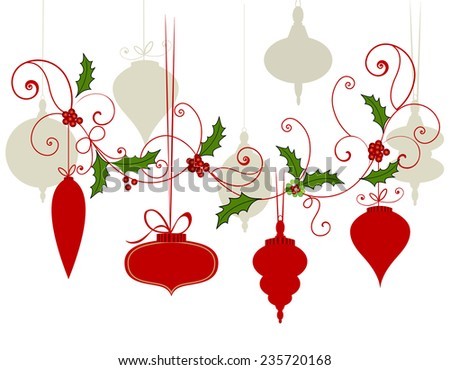Variety of Christmas baubles with flourish  - stock vector