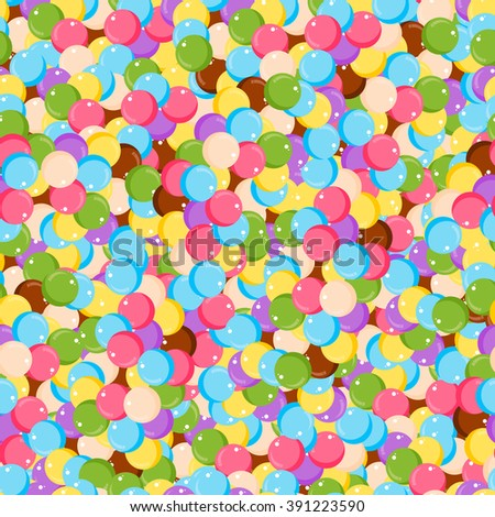 Variety of colorful gumballs seamless pattern flat vector illustration. Different colors round bubblegum seamless pattern and sweet sugar spreading pastry decoration background. - stock vector