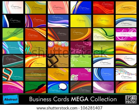 Variety of 42 detailed horizontal colorful abstract business cards collection on different topics. EPS 10.