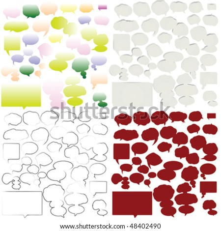 Variety of empty and stylized speech bubbles for text - stock vector