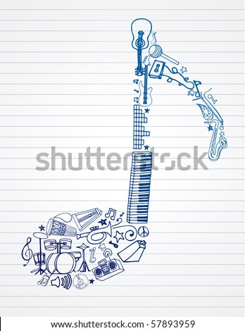 variety of hand drawn instruments makes up this musical note - stock vector