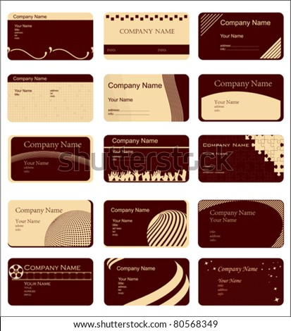 variety of 15 horizontal business cards on different topics - stock vector