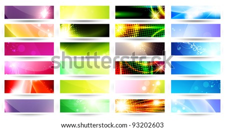 variety of 24 horizontal multicolored web banner set over white - stock vector