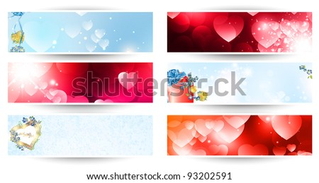 variety of horizontal Valentine day web banner set over white - stock vector