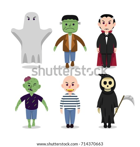 variety of scary halloween characters zombie dracula ghost