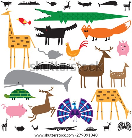 Variety of stylized animals in color and black and white - stock vector