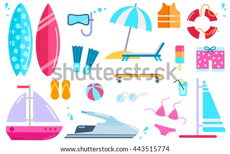 Variety of things for entertainment on beach and water in flat design. Surfboard, mask, bal, cocktail, yacht, fins, buoy, windsurfing, swimwear, lifejacket, slippers, scooter vector illustration.