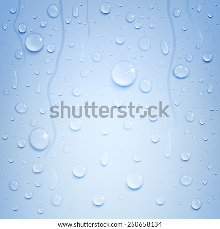variety of water drops on a blue background - stock vector