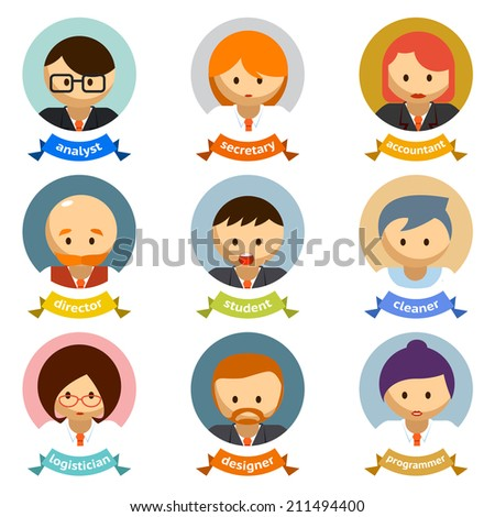 Variety Office Cartoon Character Avatars with Ribbons  Isolated on White Background. - stock vector