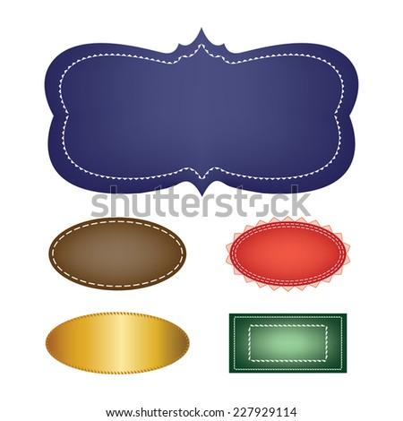 variety set of stickers stamps and vector labels with blank text box copyspace, ornate border design elements in gold blue red brown and green - stock vector