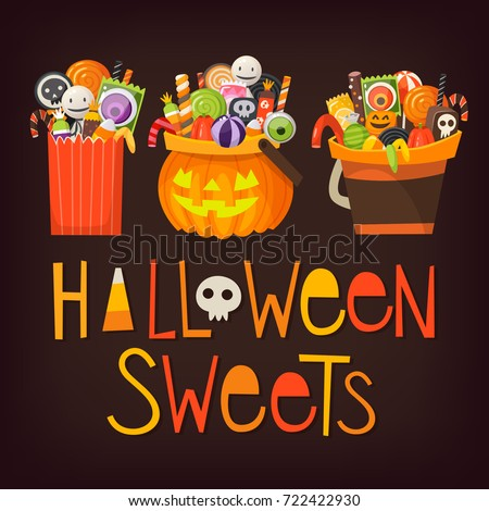 Variety shapes of buckets with halloween sweets inside. Buckets and each candy can be used separately. Vector elements