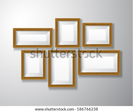 Variety sizes of realistic wooden picture frames with empty space isolated on white background for presentation and showcasing purposes.