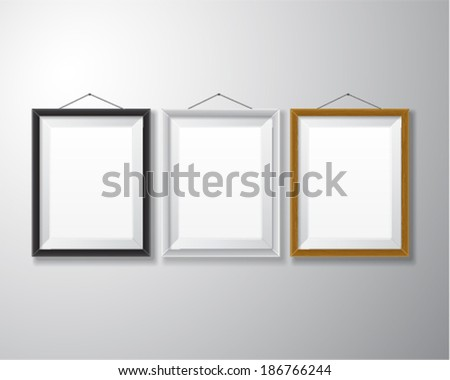 Variety types of realistic vertical picture frames with empty space isolated on white background for presentation and showcasing purposes.