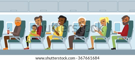 Various airplane passengers on the flight vector - stock vector