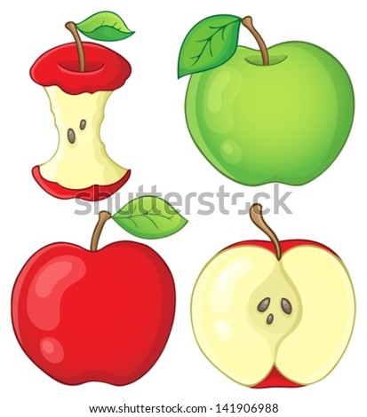 Various apples collection 1 - eps10 vector illustration. - stock vector