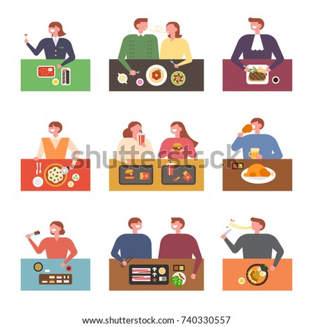 Various aspects of eating by place vector illustration flat design