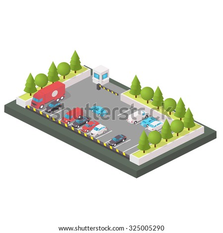 Various Automobiles, Trucks. Isometric Vector Illustration in isometric style. Parking of vehicles. - stock vector