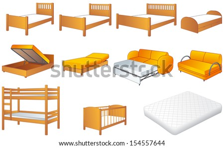 Various bedroom furniture: bed, cot, couch with adjustable back, sofa, unfolded sofa-bed, platform storage bed, bunk-bed, mattress - stock vector