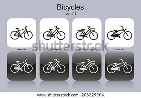 Various bicycles. Set of monochrome icons. Editable vector illustration. - stock vector