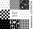 Various black and white seamless patterns set, vector - stock vector