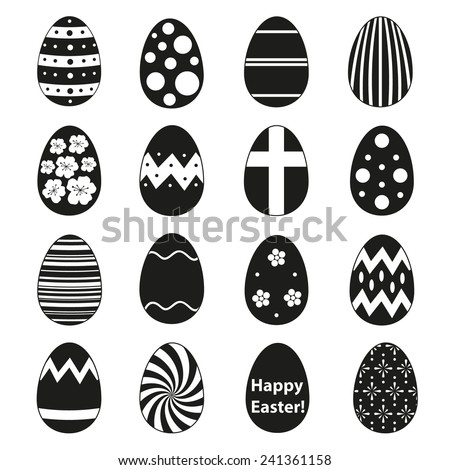 various black Easter eggs design collection eps10 - stock vector