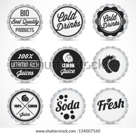 Various Black & White Bottle Cap Collection in Retro Style - stock vector