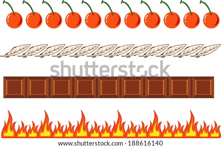Various borders set 1- Cherries, Feathers, Chocolate bar, Flames. EPS10  - stock vector