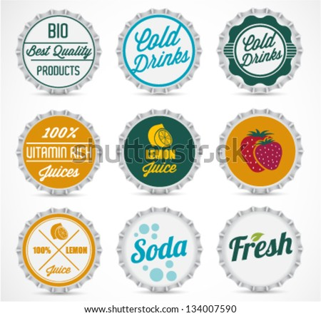 Various Bottle Cap Collection in Retro Style - stock vector