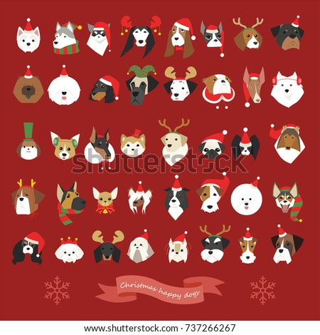 various breeds cute dogs Christmas celebration face  vector illustration flat design