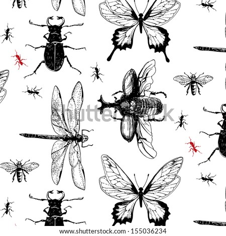 Various bugs in the pattern - stock vector