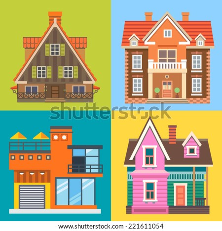 Various buildings house: modern house, cottage, wooden country house, English brick mansion. Vector flat illustrations - stock vector