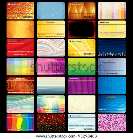 Various Business Card or Credit Card. Blank Textured Vector Templates for your Text and Design - stock vector