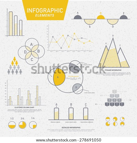 Various business infographics elements including charts, statistical bars and graphs for corporate purpose. - stock vector