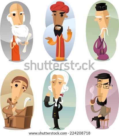 Various cartoon Philosophers through ages vector illustration - stock vector