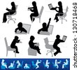 Various children studying and education in silhouettes. The bottom figures are the same poses on top and shown for visual reference. - stock photo