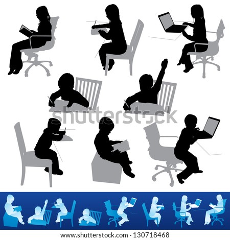 Various children studying and education in silhouettes. The bottom figures are the same poses on top and shown for visual reference. - stock vector