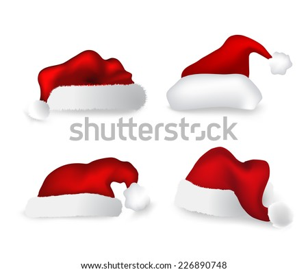 Various Christmas caps. Vector set - stock vector