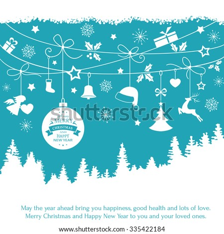 Various Christmas ornaments such as Christmas bauble, santa hat, reindeer, angel, heart, present, Christmas tree and embellishments hanging over a landscape of fir trees on a blue backdrop. - stock vector
