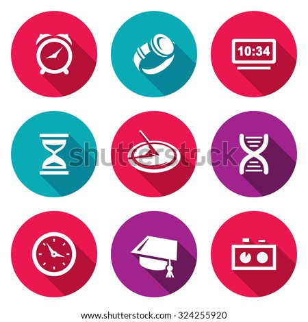 Various clock and a method for determining time icons set. Vector Illustration. - stock vector