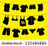 various clothes on washing line - stock vector